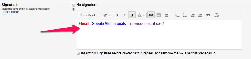 setting up gmail signature on ipad